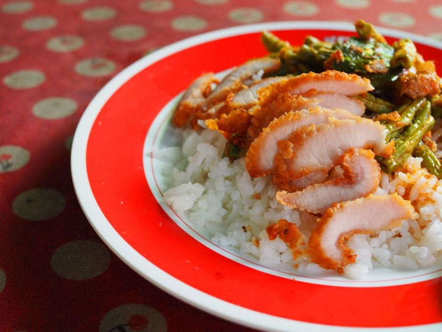 Red Melamine Plate With Thai Food