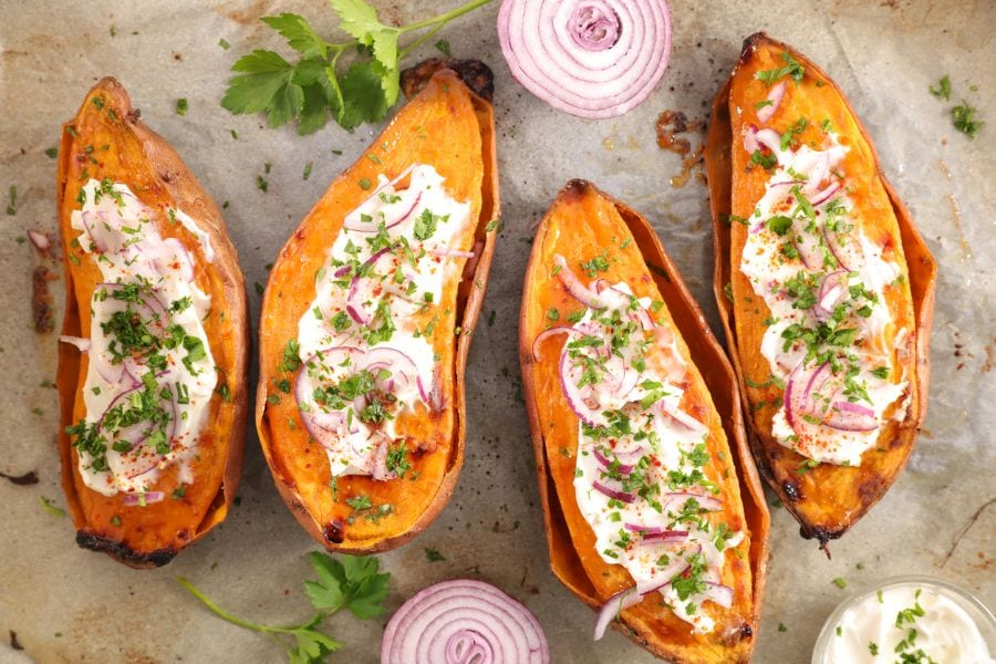 Baked Sweet Potatoes With Toppings