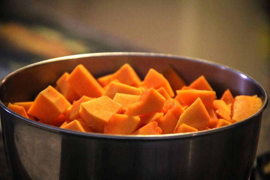 Cut Sweet Potatoes in Pot