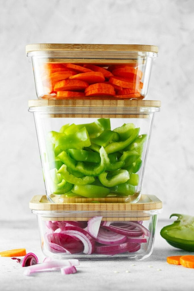 Glass Storage Containers With Cut Veggies
