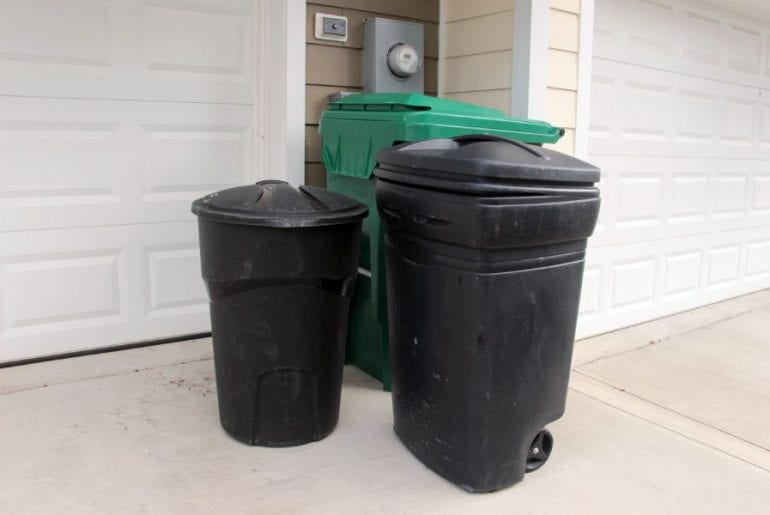 Garbage Cans Outside of Garage