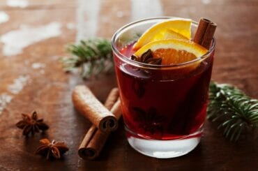 Christmas Mulled Wine With Spices and Orange Slices