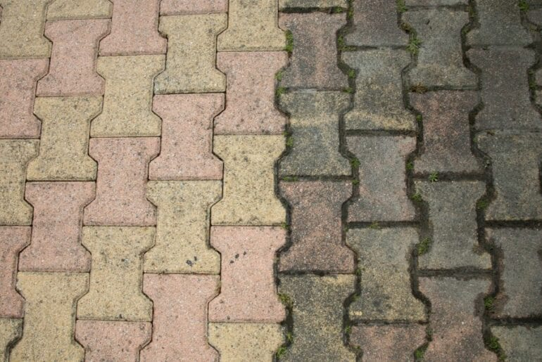 Clean and Dirty Patio Pavers