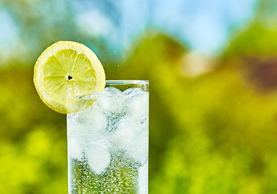 Sparkling Water With a Lemon Slice