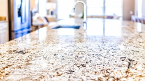 Kitchen Island With Granite Countertops and Sink
