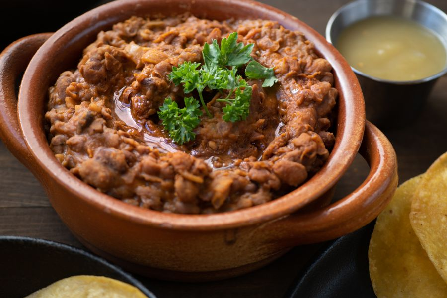 Refried Beans in a Clay Pot